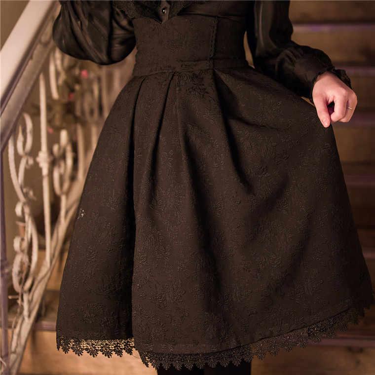 Женская классическая юбка в стиле Лолиты, винтажный стиль, Ретро готический стиль, темно-синий цвет, на шнуровке, высокая талия, трапециевидная юбка в стиле часовни, торжественные юбки черного цвета