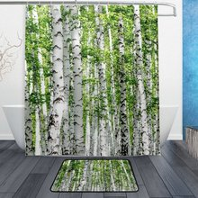 Nature Spring Scenery Forest Tree Shower Curtain And Mat Set Birch Leaves Landscape Waterproof