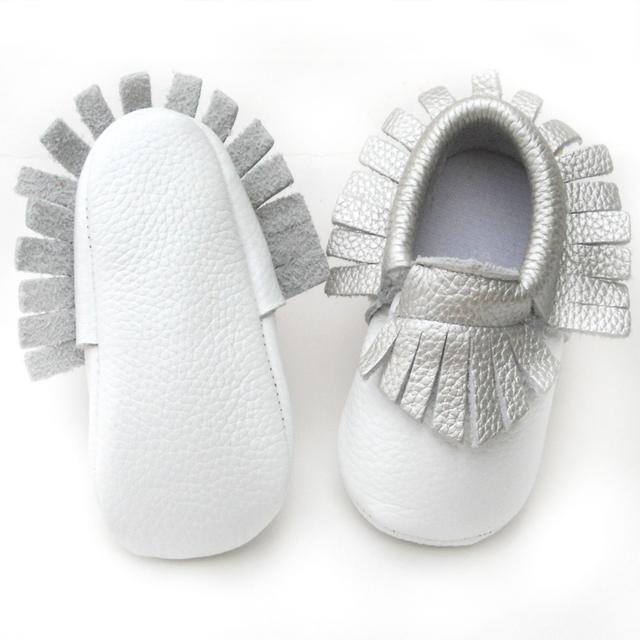 Franja de plata zapatos zapatos de niño bebé zapatos de bebé de cuero de vaca mocasines zapatos coloridos niñas y niños primero walker