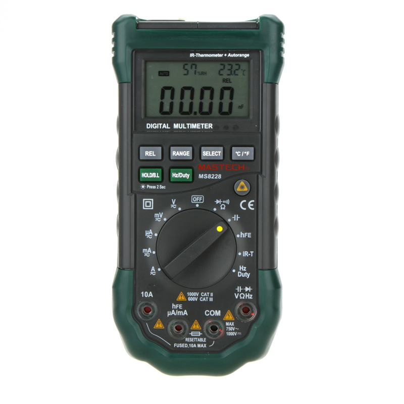 MASTECH MS8228 Digital Multimeter Non-Contact IR Thermometer Relative Humidity Tester 4000 Counts цена и фото