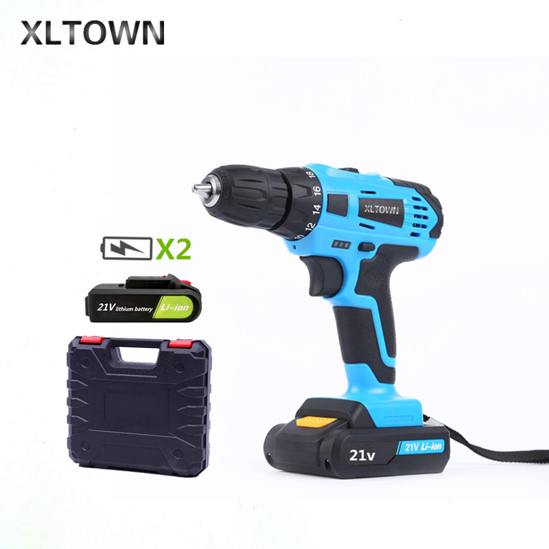 XLTOWN 21V hand Electric drill 2 Battery Rechargeable lithium battery electric screwdriver cordless Electric drill Power Tools xltown new 21v rechargeable lithium battery electric screwdriver with 2 battery high quality electric drill tools free shipping