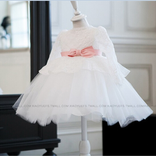 2016 Long Sleeve Newborn Christmas Dresses First Communion Gifts Lace Christening Baptism