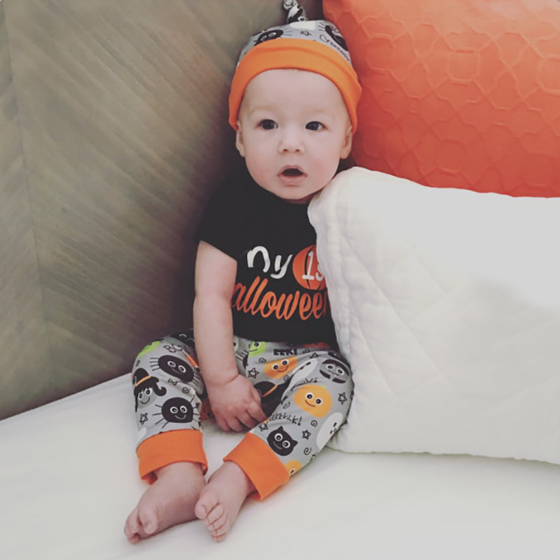 Newborn Baby Girl Clothes 2018 Halloween Pumpkin Boy Bodysuit Tiny Autumn Pants Hat 3pcs Clothing Set Baby Onesie Costume