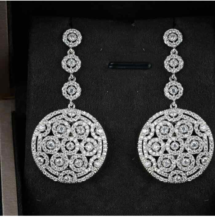 Jane Kelly nouvelle mode populaire de luxe longue forme ronde Dangle plein Mirco pavé cubique zircone fiançailles fête argent boucle d'oreille
