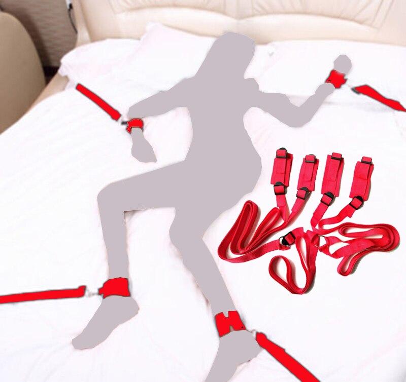 Red Plush Beds Bandages Adult Erotic Toy Under Bed Restraint Bondage Fetish Slave Sex Products Handcuffs & Ankle Cuffs BDSM Bond