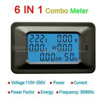 6in1 AC Multifuctional Meter 110V 220V 50A Voltage Current Power Factor Energy KWH Frequency Digital Display