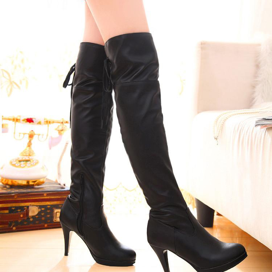 2017 Hoest Long Black Boot PU Leather Game NieR Automata 2B Boots Cosplay Shoes For Girl Female Halloween Party 167429