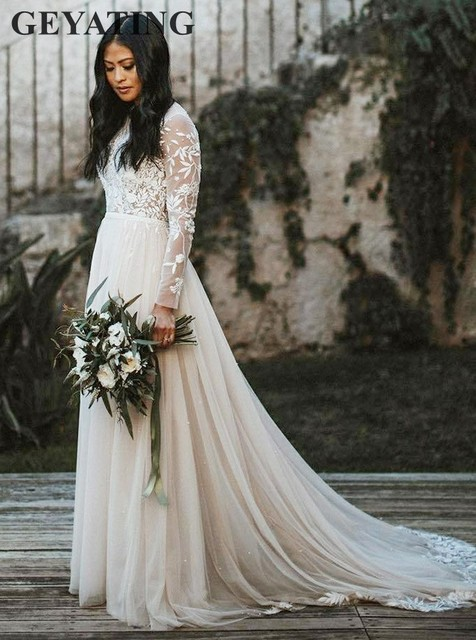 58ad8dc110d Vintage Ivory Lace Long Sleeves Wedding Dress Boho Applique Tulle Sweep  train Bridal Gowns A-line Hippie Country Wedding Dresses