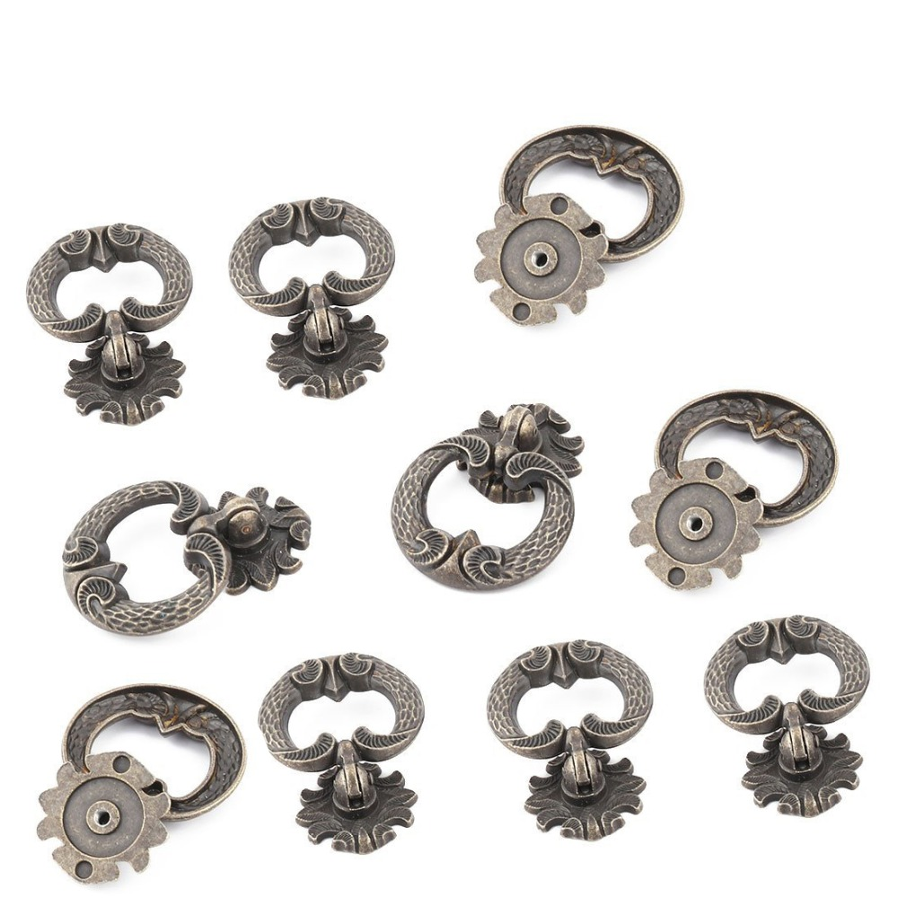 10PCS Antique Knobs Ring Pendants Furniture Hardware Handles Kitchen Cabinets Pull Knobs Drawer Wardrobe Cupboard Accessories furniture drawer handles wardrobe door handle and knobs cabinet kitchen hardware pull gold silver long hole spacing c c 96 224mm