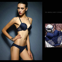 Women Sexy Embroidery Lace Thin Bra Sets Front Closure Hollow Out Back Lace Straps Transparent Bra and Briefs