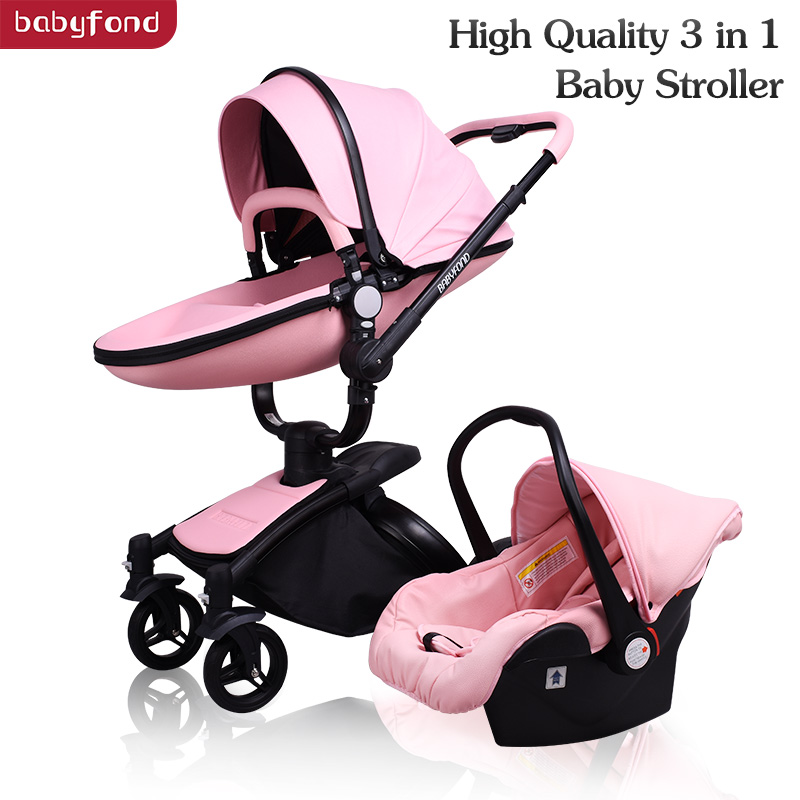 Brand Babyfond baby strollers 360 rotate leather folding light baby car 3 in 1 baby pram send gifts two-way baby carriage Brand Babyfond baby strollers 360 rotate leather folding light baby car 3 in 1 baby pram send gifts two-way baby carriage