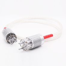 Free shipping one piece Hi End 8ag 8core Twist Silver plated OCC Power Cable Carbon fiber EU Power cable цена