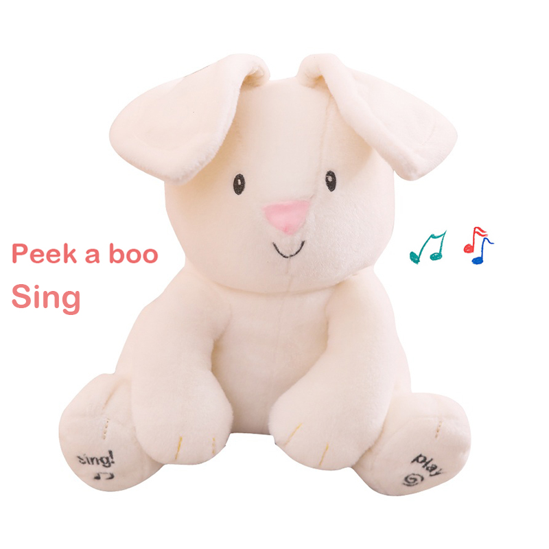 Peek a boo Bunny Rabbit Elephant Pikachu Detective Electric Toy Animals Plush Doll Musical Talking and Singing Gift for Baby Kid(China)