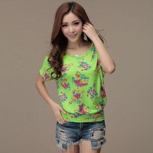 Women's summer national trend o-neck print short-sleeve shirt batwing loose female t-shirt