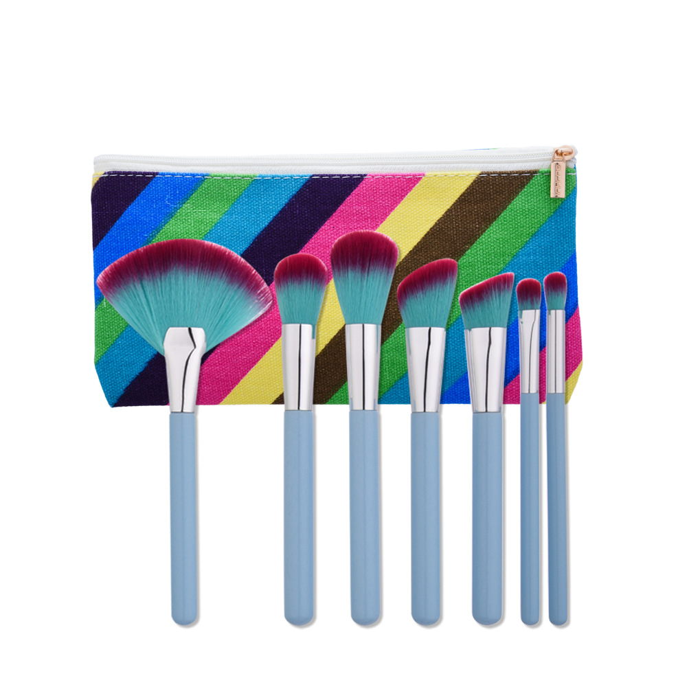 Vander 7PCS / sets 2017 new light blue wood handle + aluminum tube + nylon hair makeup brush professional eyebrow blush basal ha