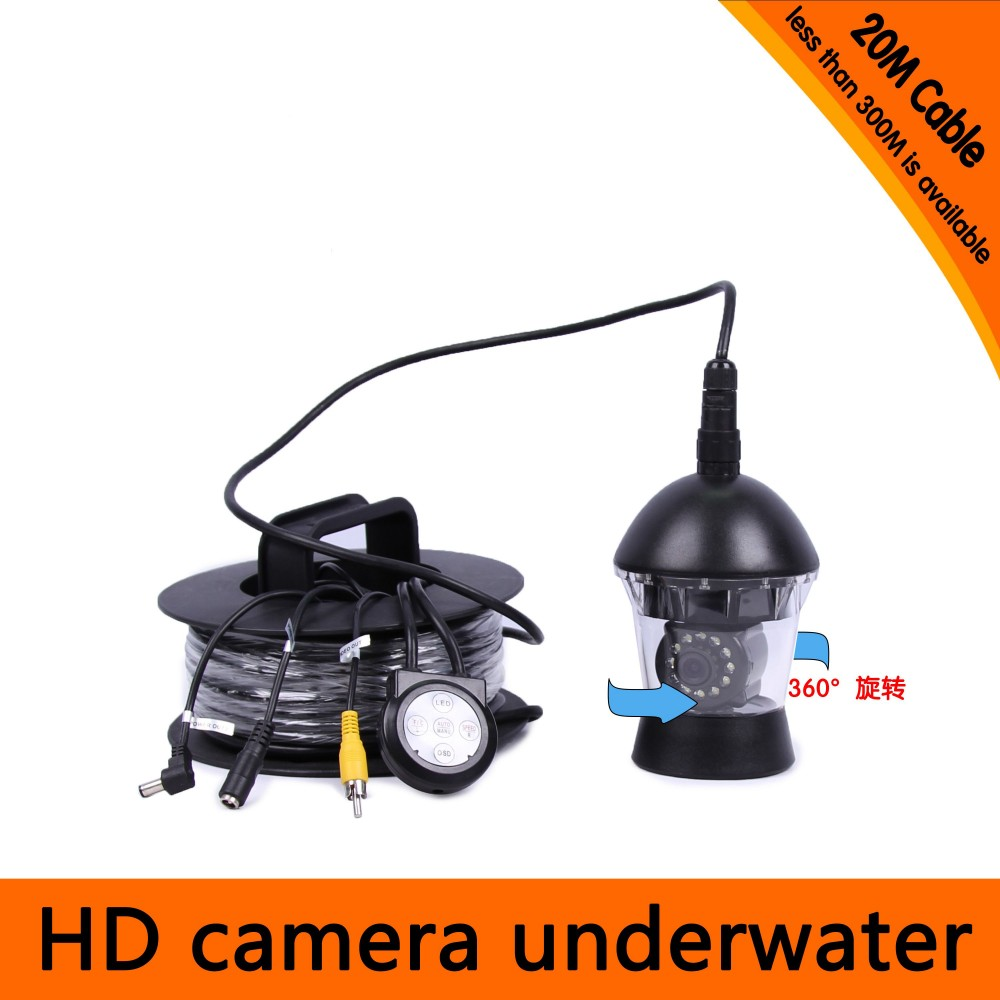 20Meters Depth 360 Degree Rotative Underwater Camera with 18pcs of White or IR LED for Fish
