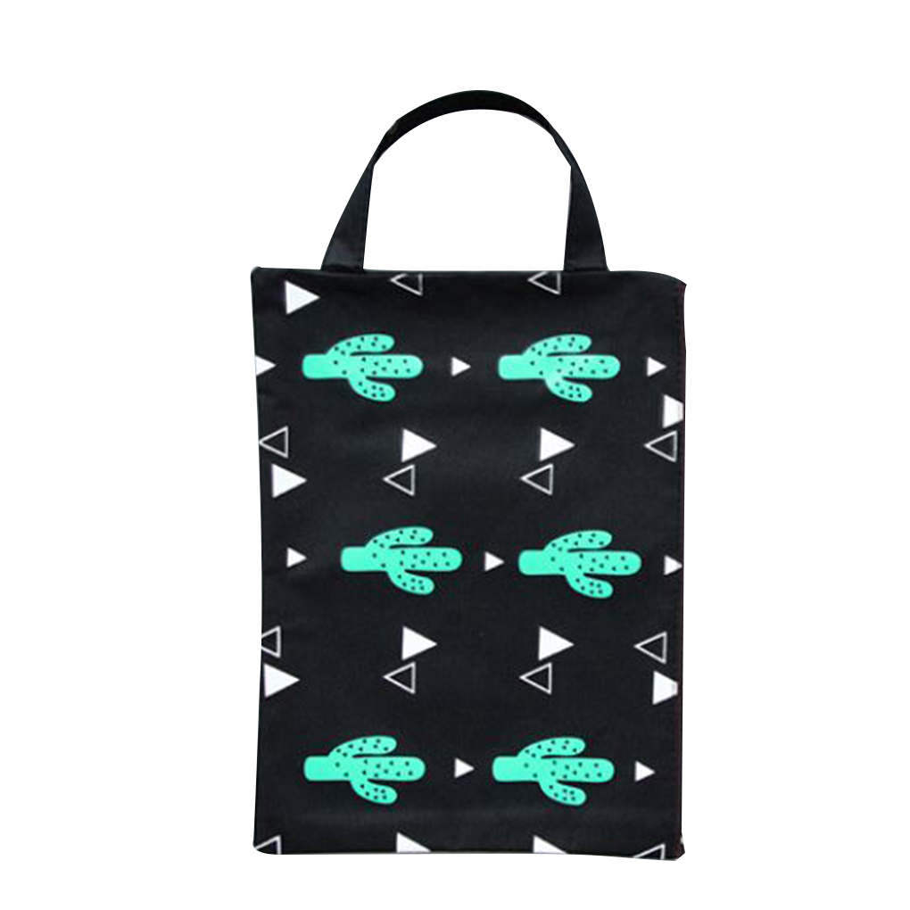 A4 Size Cactus Pattern Oxford Cloth Mesh Document Bags File Organizer With Handles For Home Office School Students Teachers