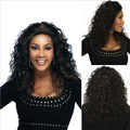 Free Shipping 40 cm Fashion Cheap Ombre Black brown Curly Heat Resistant  Hair Synthetic Wigs with Natural For African wig women