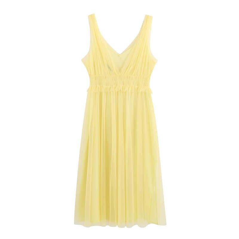 RR сексуальные свободные гофрированный с сеткой платья Для женщин модное нарядное платье без рукавов с v-образным вырезом платье Для женщин Элегантный оборками Сетчатое платье женские FE03