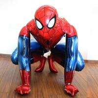 1 UNID 91 cm Super gran Héroe Spiderman globos de papel de aluminio Anagrama niño de pie bolas de helio niños cumpleaños decoración del partido inflable juguete