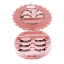 2017 Cute Bow False Eyelash Plastic Storage Box Makeup Cosmetic Mirror Case Orga
