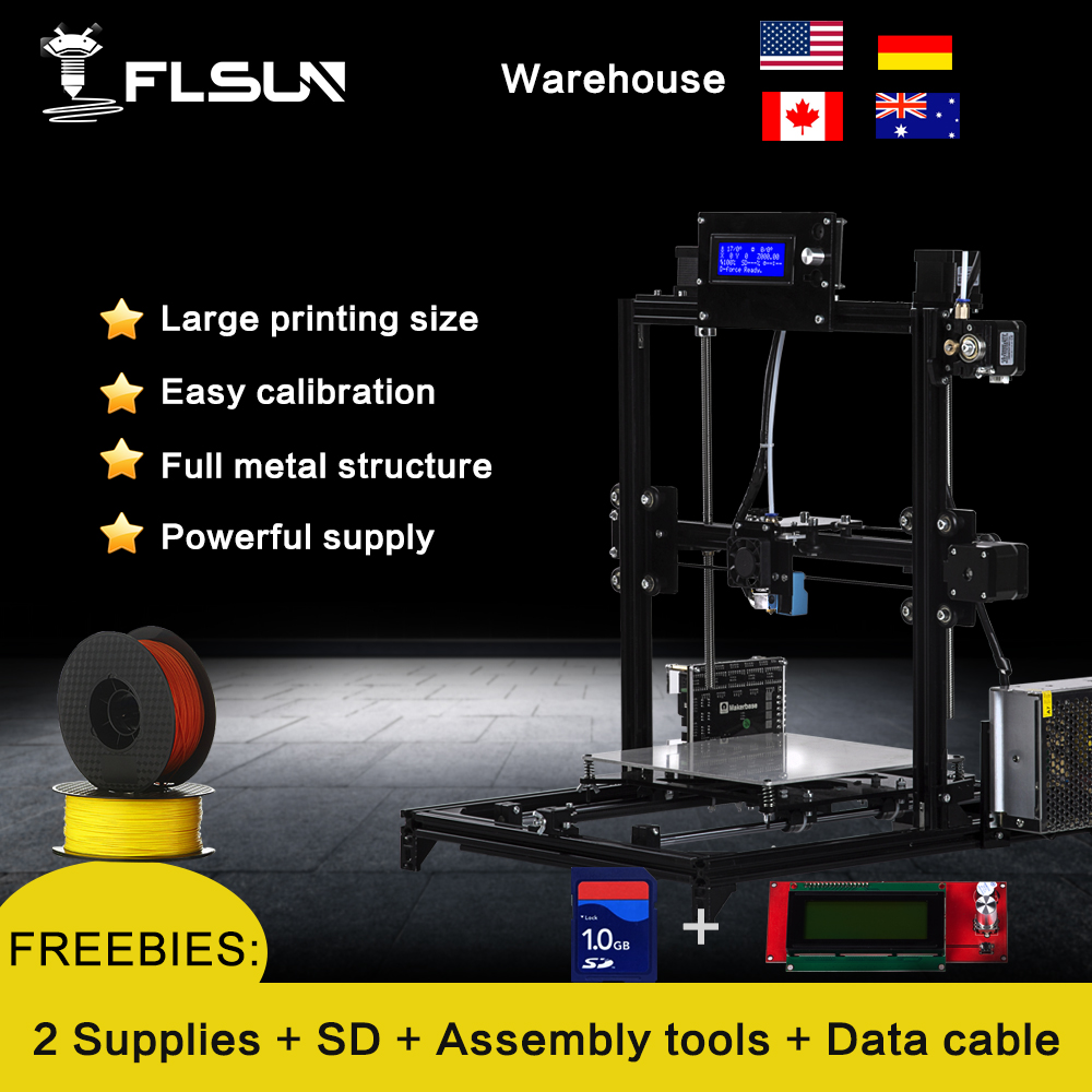 Ship From European warehouse Flsun3D 3D Printer Auto leveling  i3 3D Printer Kit Heated Bed Two Rolls Filament SD Card Gift 2017 tronxy x5 newest large printing area open build aluminium frame 3d printer kit flsun cube printer 3d with heated bed
