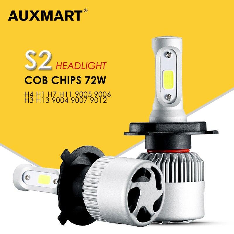 H4 H7 H11 H13 9005 9006 Silver COB LED Car Headlight Bulbs 6500K 8000LM Headlight All