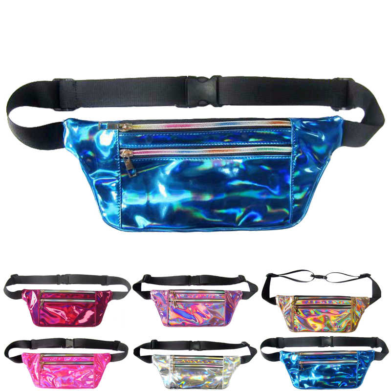 7be85bf72644 Hengreda Laser Holographic Fanny Pack Slim Shiny Neon Waist Bag PU  Waterproof Bum Bag Travel Hip Bags for Womens Girls