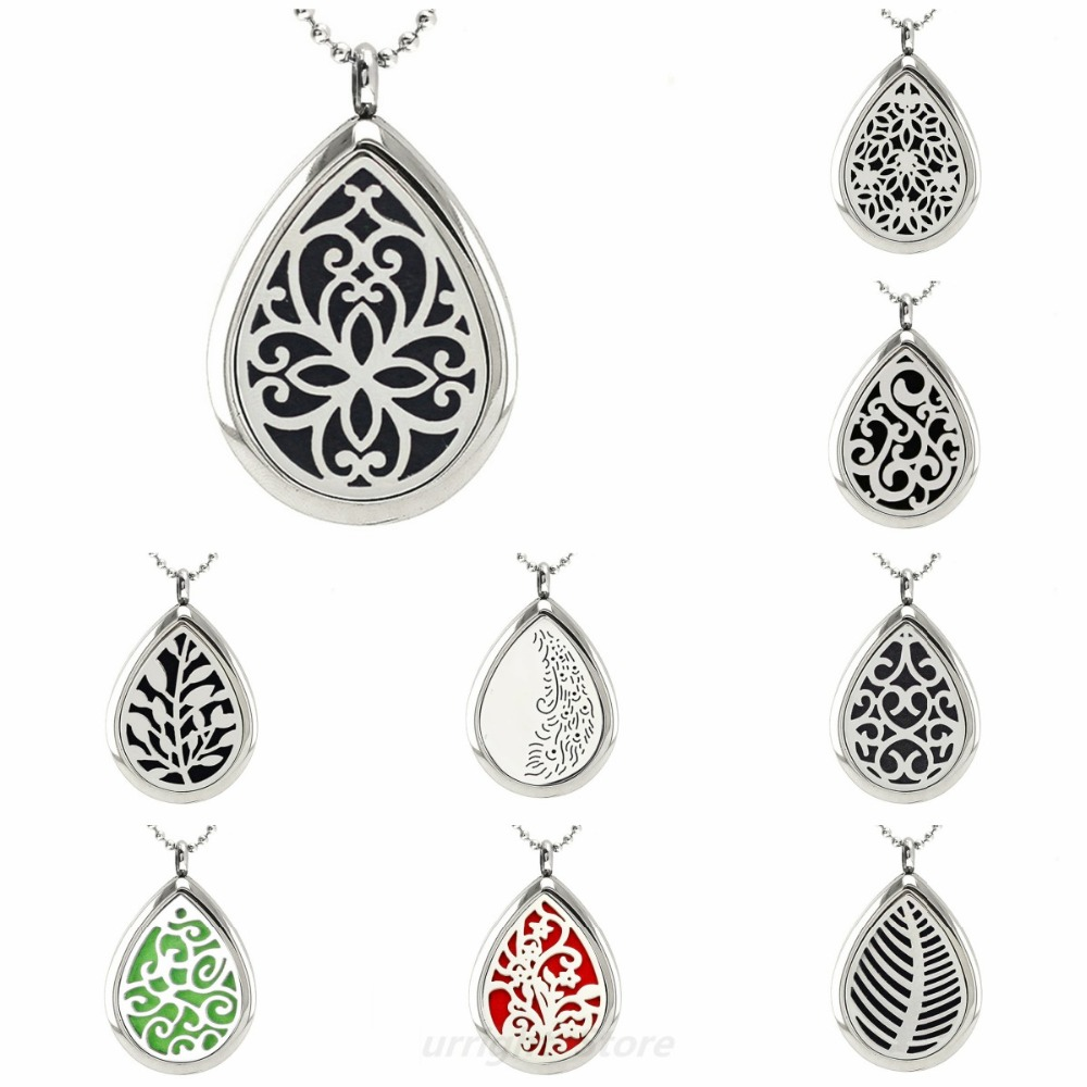 Pretty flower 316 L Stainless Steel Teardrop Necklace Aromatherapy Oil Diffuser locket Necklace Pendant for Women with 10 pads цена