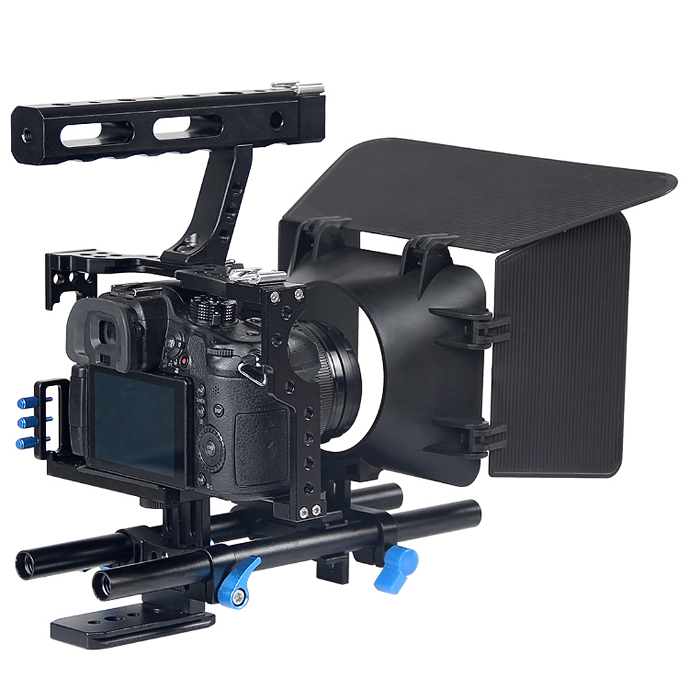 цена на Handle DSLR Rig Stabilizer Video Camera Cage/Follow Focus/Matte Box Kit For Sony A7S A7 A7R A7RII A7SII Lumix GH4 Free Shipping