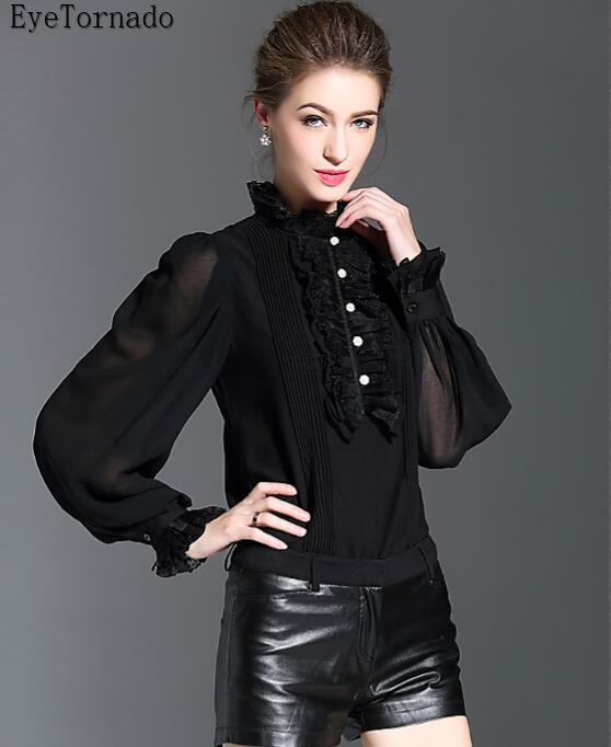 British style 2018 women spring autumn fashion black ruffled pearls button lantern sleeve casual work blouse shirt top 8300 ruffled button down blouse in black
