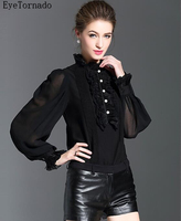 British Style 2017 Women Spring Autumn Fashion Black Ruffled Pearls Button Lantern Sleeve Casual Work Blouse