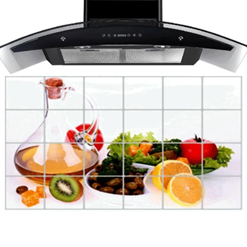 90 Cm 60 Cm Fruit Drinks Kitchen Wall Stickers Accessories Chef Kitchen Decor Aluminum Foil