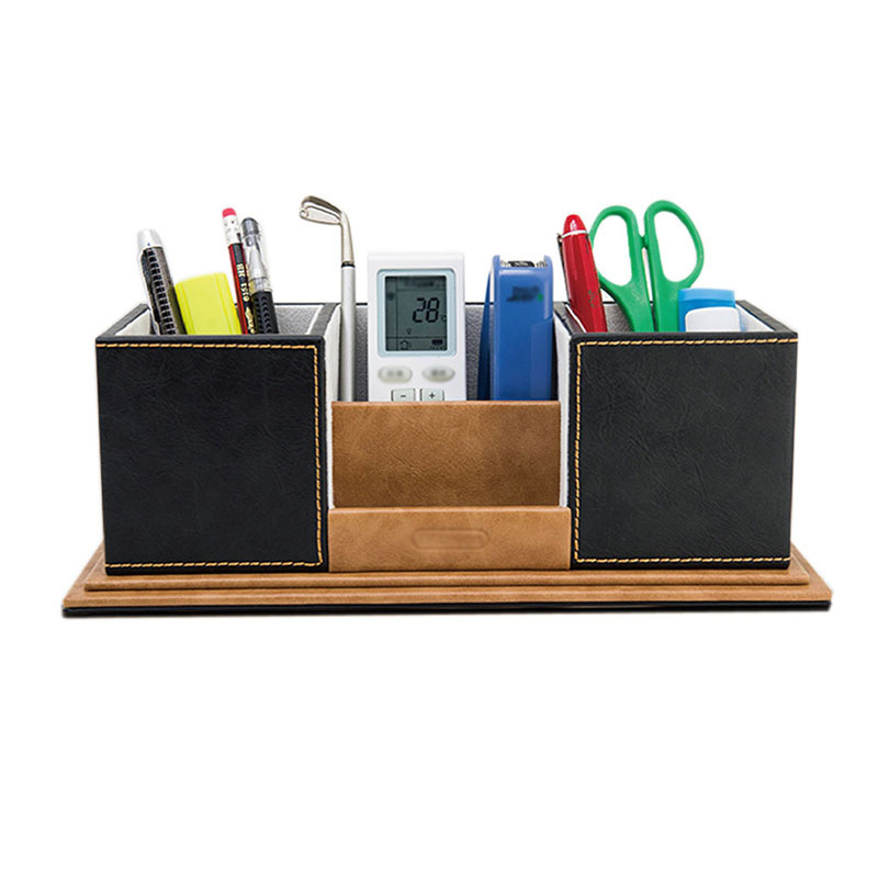 Pencil Pen Holder Office Wooden Desk Organizer Accessories Box Stand For Students Officers With Pu Leather Cover In Holders From School
