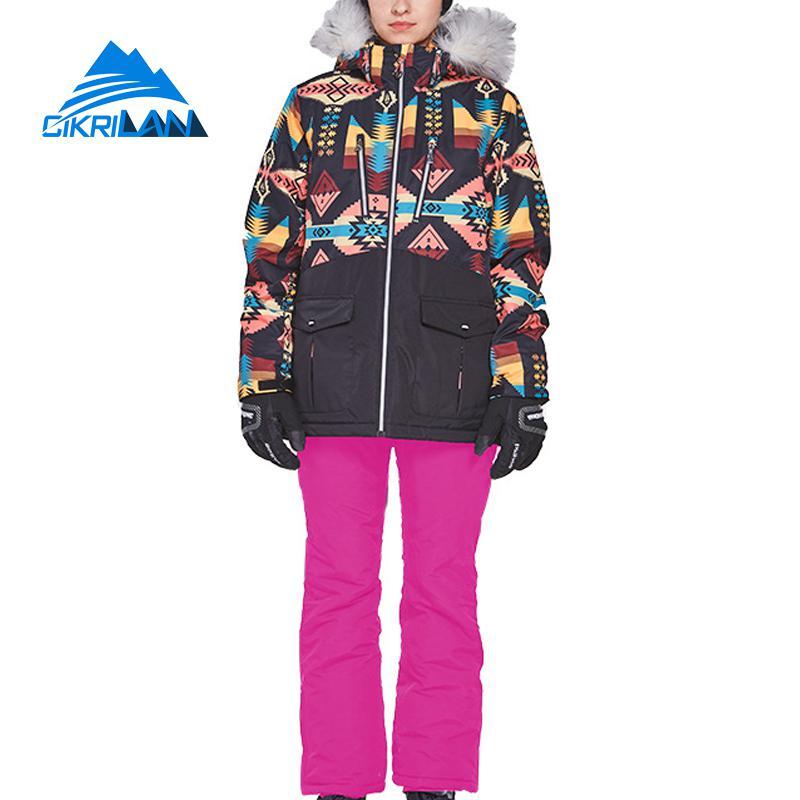 Winter Women Cotton Padded Thick Waterproof Fur Collar Outdoor Ski Jacket Snow Pants Sport Snowboard Suit Windproof Skiing Set