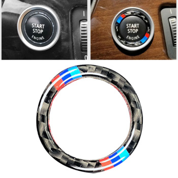 Engine Switch Start Stop Button Ring Sticker Decor Carbon Fiber M-Color Circle Trim For BMW E90 E92 E93 3 series E89/Z4 (09-12) image