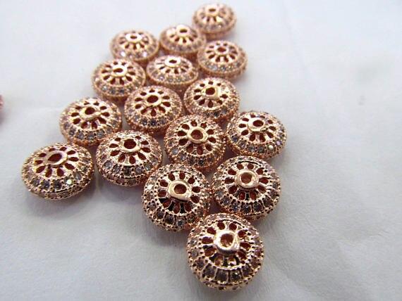 12 pièces Micro Pavé Rond roue Beignet perles d'espacement, Micro Pave Diamant CZ Zircon Cubique, bijoux à bricoler soi-même, De Haute Qualité 8