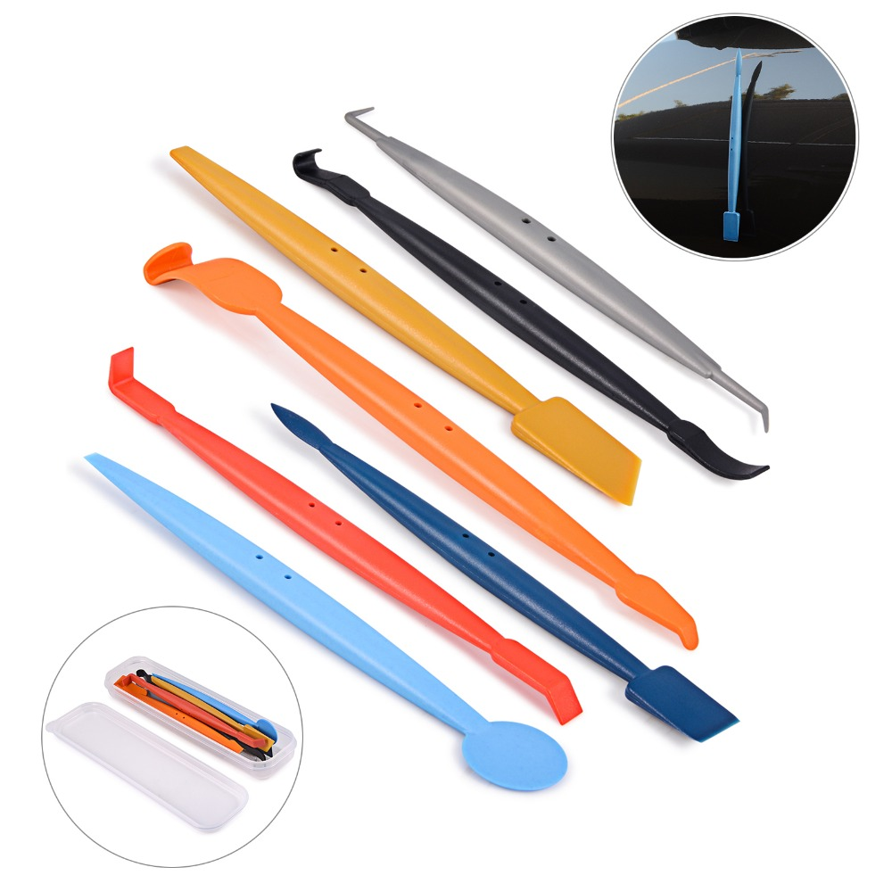 EHDIS 7pcs Vinyl Film Car Wrap Magnetic Squeegee Brush With Strong Magnet Scraper Glue Remover Auto Window Foil Tint Tool Kit