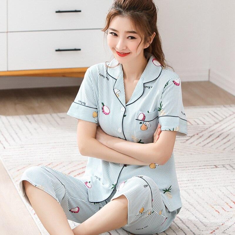 Sujisi woman new pajama set sweet cartoon printing sleepwear women loose  stripe pure cotton pyjamas female indoor clothing 7e5c48335d70