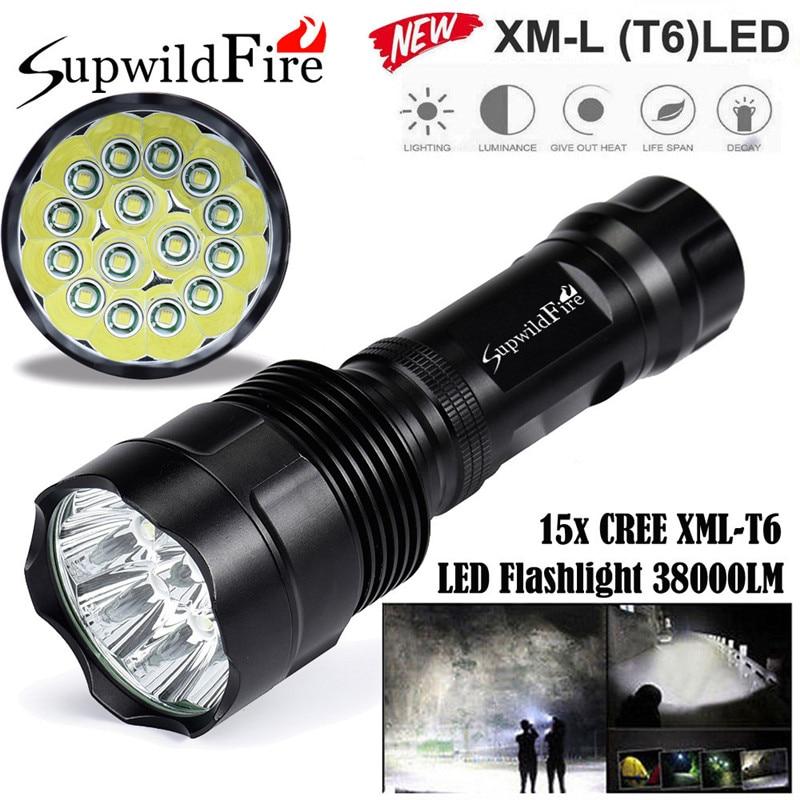 ФОТО Super Bright 38000Lm 15x CREE XML T6 LED 5Mode 26650 Aluminum Alloy Flashlight Torch Cycling Bicycle Bike Front Head Light Lamp