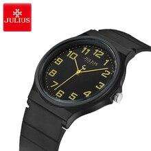 Юлий Классические черные и белые силиконовые Для женщин часы дамы большой циферблат часы Водонепроницаемый кварцевые пару спортивные часы Relogio Feminino