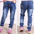2017 Primavera Moda Casual Style Niños Girs Jeans Solid Patten Elástica pantalones De 10 11 12 13 14 Años de Cabritos Ropa SKP165010