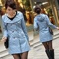 Spring Women trench Korean OL Slim Hooded windbreaker double-breasted long trench coat female windcheater FY15030902