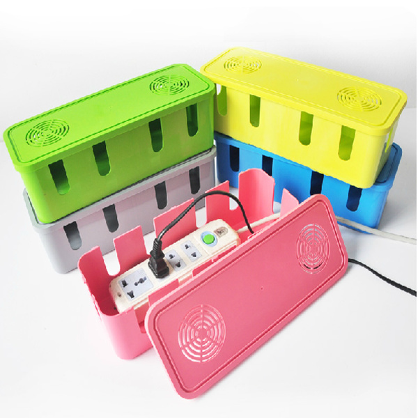 2pcs Fashion Safety Socket Outlet Board Container Cables Storage Organizer Case Box, Electric Wire Case Accessories Supplies