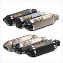 все цены на 38-51mm Universal Motorcycle Exhaust Muffler Tip Pipe With Removable DB Killer Slip On For GSXR750 CBR300 Z250SL/350 онлайн