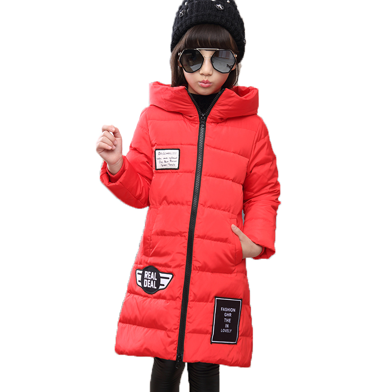 New 2018 Fashion Children Winter Jacket Girl Winter Coat Kids Warm Thick Hooded Long 80% Down Coats For Teenage Girls 4Y-14Y girls down coats girl winter new 2018 fashion children coat kids warm thick fur collar hooded long down parka for teenage 4y 14y