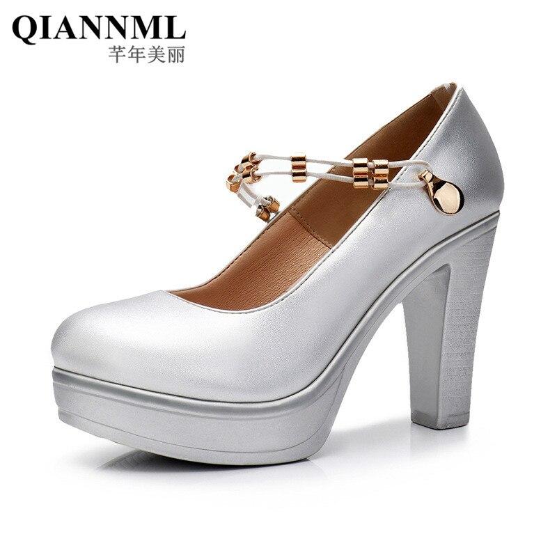 QianNML Women s Split Leather Shoes Platform 2019 Chain High Heels Pumps Women Wedding Shoes White