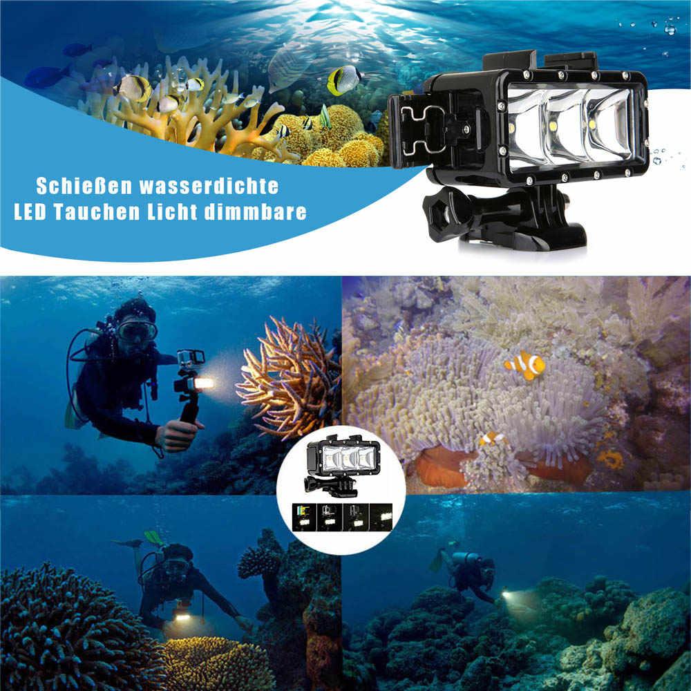 Bắn Chống Nước 30M Dưới Nước Đèn LED Lấp Đầy Đèn Lặn Video Đèn Cho Gopro Hero 8 7 5 Màu Đen xiaomi Yi 4K SJCAM EKEN