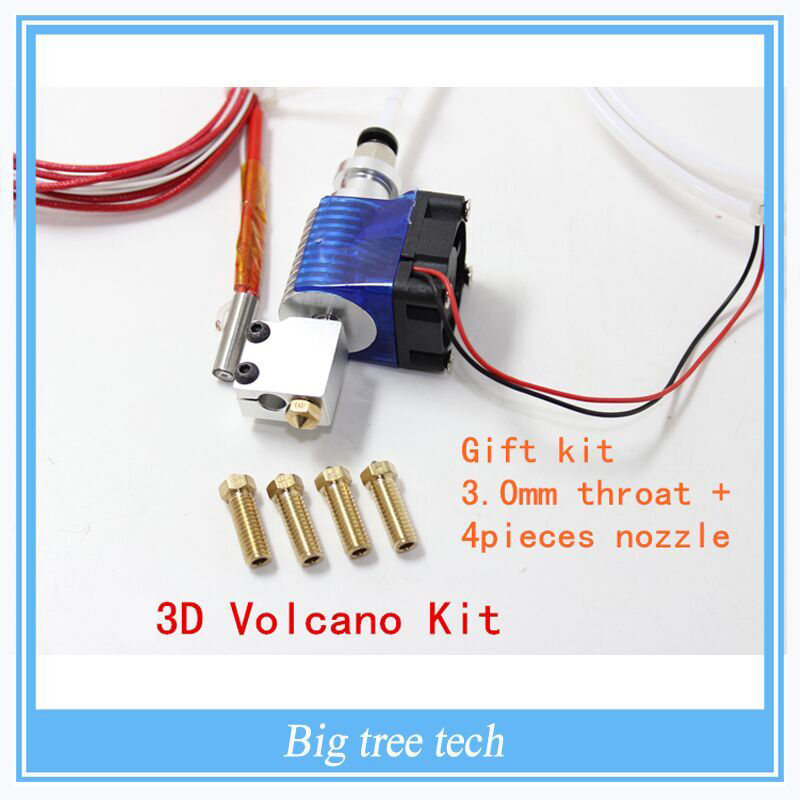 3D Volcano kit-J-head Hotend with Fan for 3.0mm  Bowden Filament Wade Extruder 0.4/0.6/0.8/1.0/1.2mm Nozzle 3d printer all metal j head hotend with cooling fan ptfe tubing for 1 75 3 0mm v6 bowden wade extruder 0 2 1 0mm nozzle