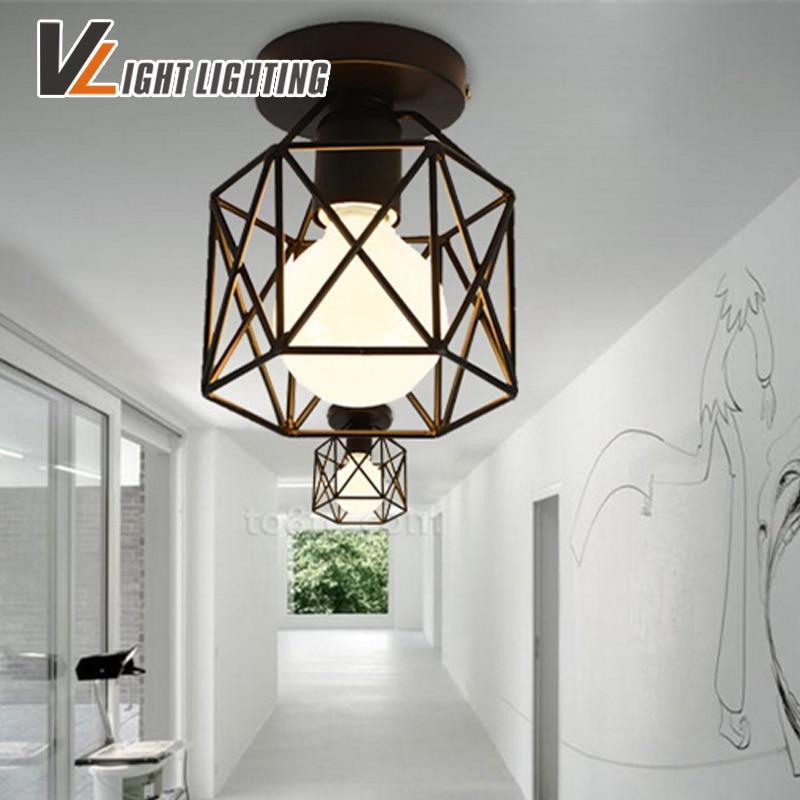 Kostenloser Versand Vintage Eisen Matte Malerei Decke Lampe Foyer Esszimmer Bar Loft Decke Licht 110-240 V Hause Beleuchtung Deckenleuchten